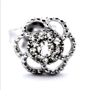 14k white gold on 925 Sterling Silver Earring